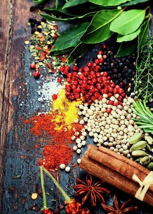 Spice Greeting Card featuring the photograph Spices And Herbs by Natalia Klenova