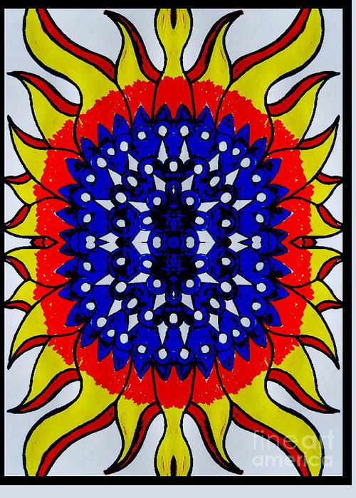 Greeting Card featuring the digital art Sunburst Flower by Graham Roberts