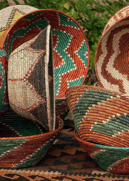 Woven Greeting Card featuring the photograph 11261 Baskets In Santa Fe by John Prichard
