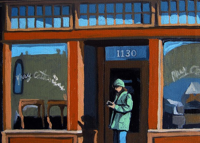Woman Greeting Card featuring the painting 1130 High St. by Linda Apple