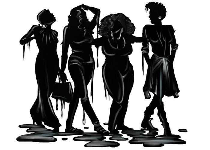 Women Greeting Card featuring the drawing Black. by Terri Meredith