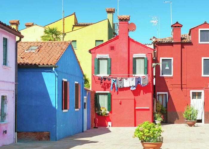 Burano Greeting Card featuring the photograph Burano Italy by Peter Horvath
