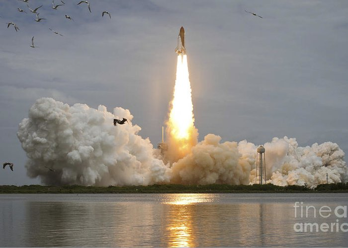 Atlantis Greeting Card featuring the photograph Space Shuttle Atlantis Lifts by Stocktrek Images