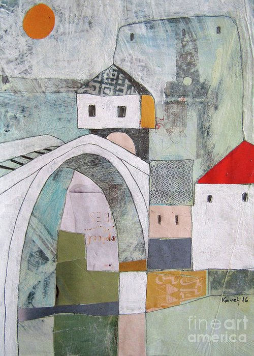 Greeting Card featuring the painting Stari Most, Mostar by Emir Kevelj