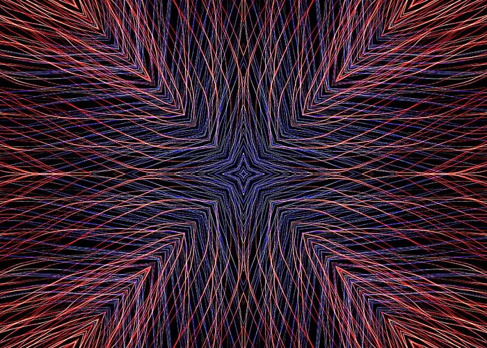 Electric Greeting Card featuring the digital art Kaleidoscope Image Created From Light Trails by Amy Cicconi