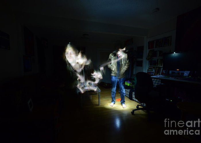 Light Painting Photography Greeting Card featuring the photograph Light Painting Photography by Chris Look