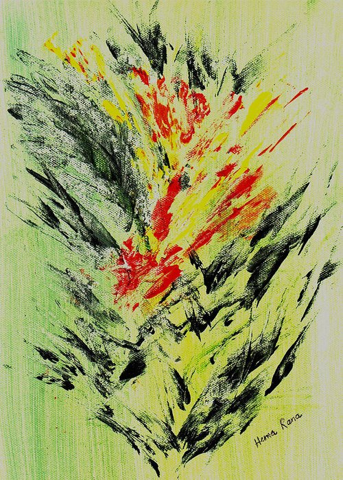 Abstract Flowers Greeting Card featuring the painting Abstract Flowers by Hema Rana