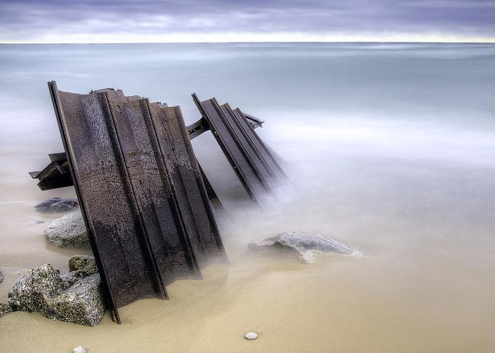 Beach Greeting Card featuring the photograph Point Betsie Breakwall by Twenty Two North Photography