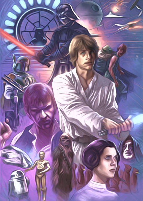 Star Wars Greeting Card featuring the digital art Star Wars Old Art by Larry Jones