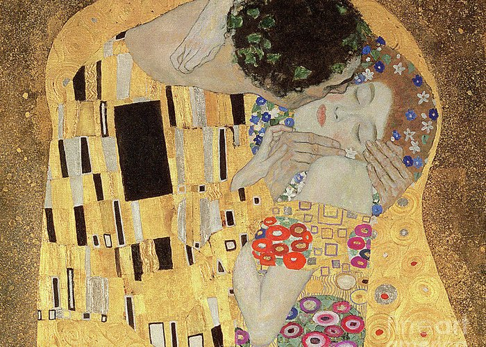 Klimt Greeting Card featuring the painting The Kiss by Gustav Klimt