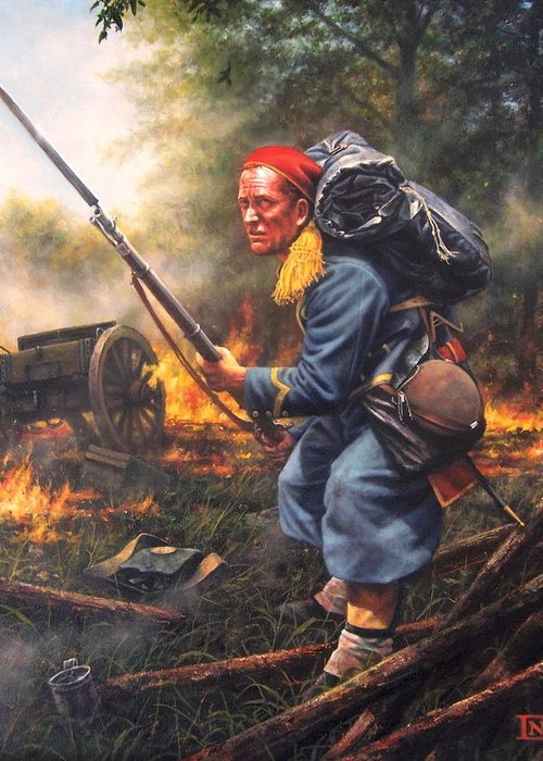 Civil War Greeting Card featuring the painting 146th New York Zouaves by Dan Nance