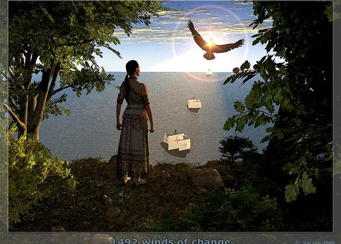 Jim Coe Greeting Card featuring the digital art 1492 - Winds Of Change by Jim Coe