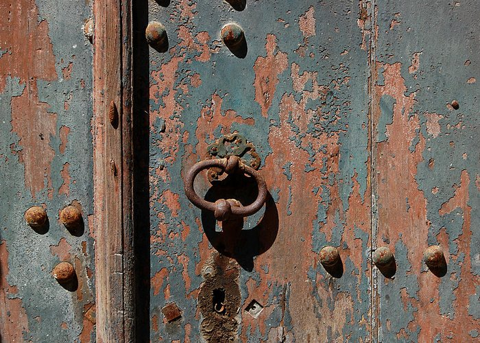 Door Greeting Card featuring the photograph 14th Century Door In France by Marion McCristall