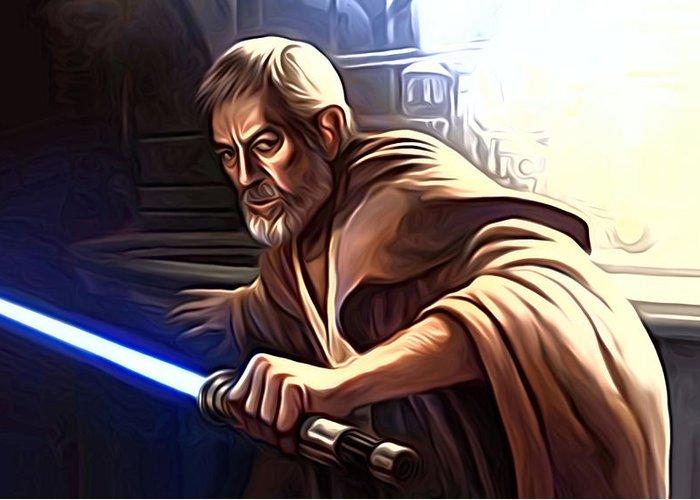 Star Wars Greeting Card featuring the digital art Jedi Star Wars Art by Larry Jones