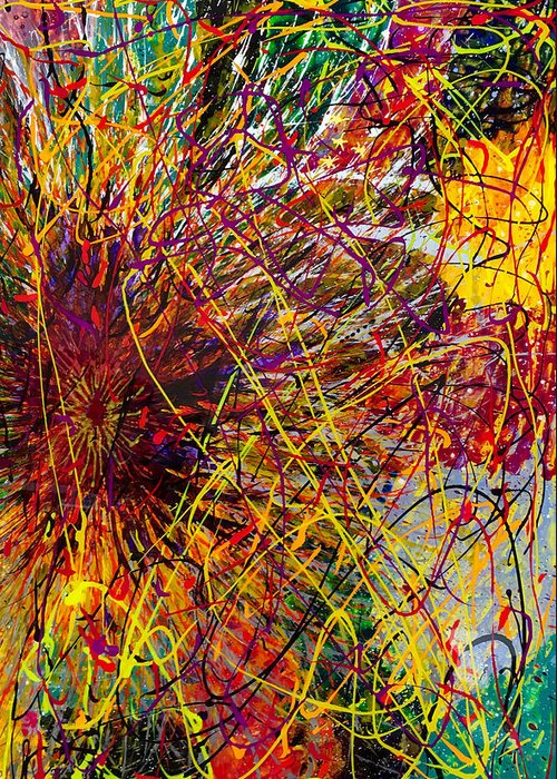 Abstract Greeting Card featuring the painting 16-10 String Burst by Patrick OLeary
