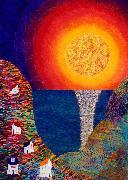 Abstract Greeting Card featuring the painting 16-7 Village Sun by Patrick OLeary