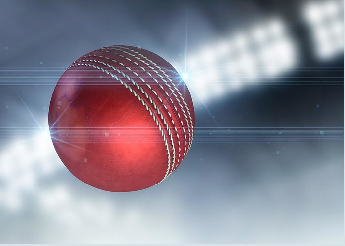 Cricket Greeting Card featuring the digital art Ball Flying Through The Air by Allan Swart