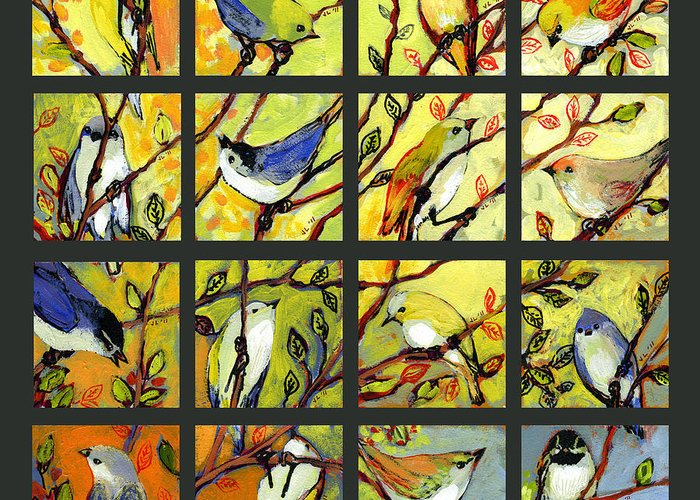 Birds Greeting Card featuring the painting 16 Birds by Jennifer Lommers