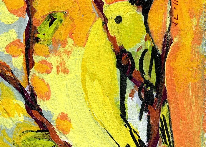 Bird Greeting Card featuring the painting 16 Birds No 1 by Jennifer Lommers