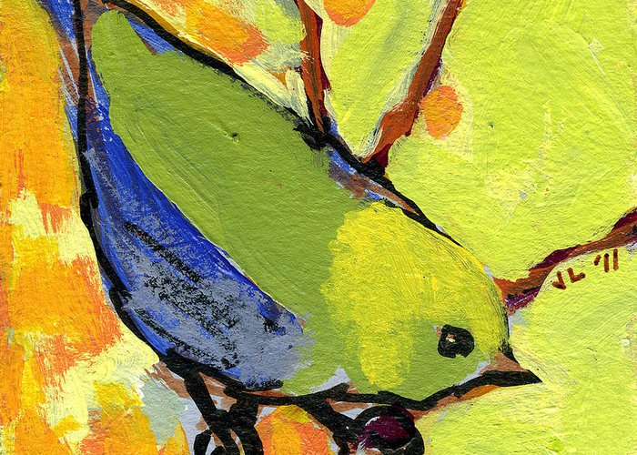 Bird Greeting Card featuring the painting 16 Birds No 2 by Jennifer Lommers