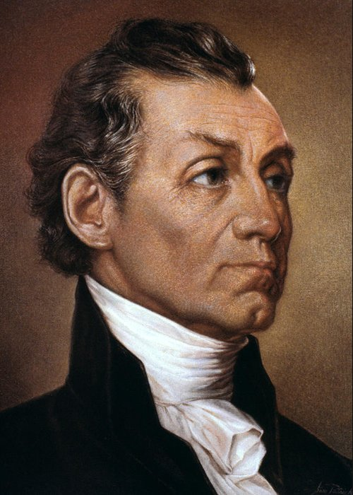 19th Century Greeting Card featuring the photograph James Monroe (1758-1831) by Granger