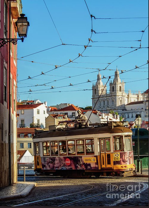 Alfama Greeting Card featuring the photograph Lisbon, Portugal by Karol Kozlowski