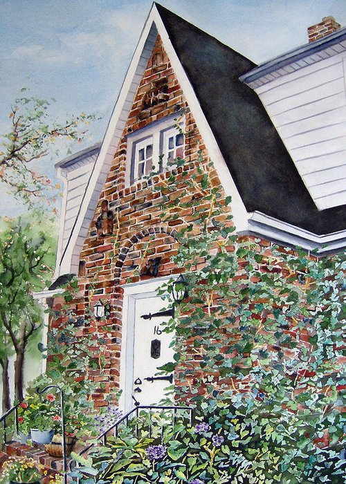 Brick House Greeting Card featuring the painting 16 Oak Street by Brian Degnon