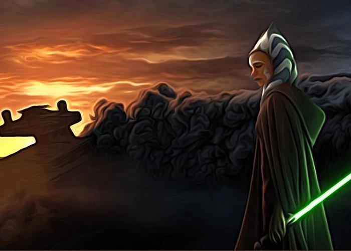 Star Wars 3 Greeting Card featuring the digital art Star Wars Episode 2 Art by Larry Jones