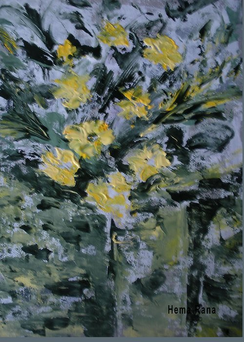 Flowers Greeting Card featuring the painting Abstract Flowers by Hema Rana
