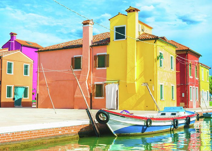 Architecture Greeting Card featuring the photograph Burano Italy by Peter Horvath