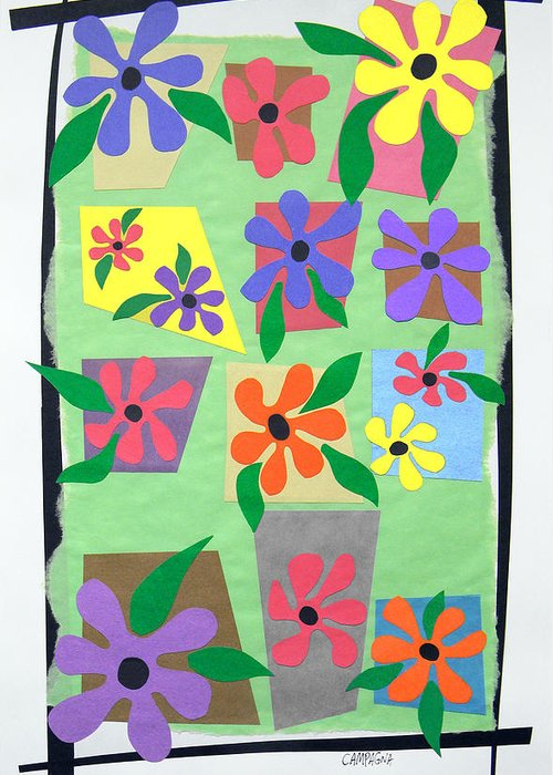 Cut Paper On Paper. Various Colored Flowers On A Light Green Background Framed In Black. Red Greeting Card featuring the tapestry - textile Untitled by Teddy Campagna