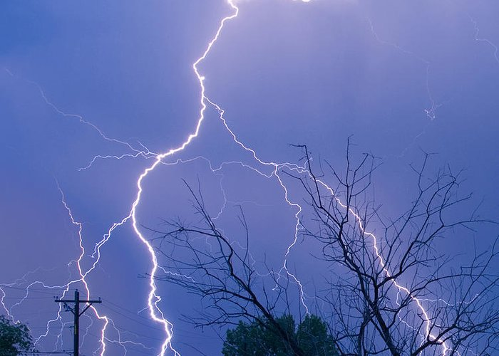Lightning Greeting Card featuring the photograph 17th Street Lightning Strike Fine Art Photo by James BO Insogna