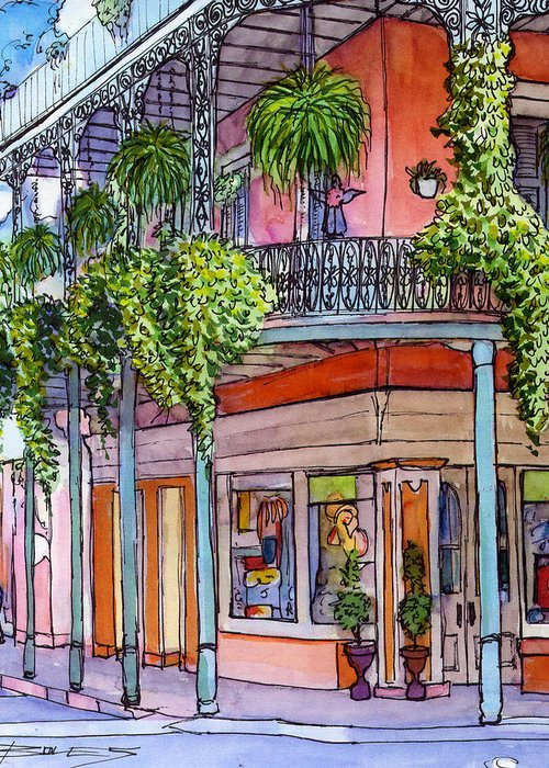 New Orleans Greeting Card featuring the painting 18 French Quarter Art Gallery by John Boles