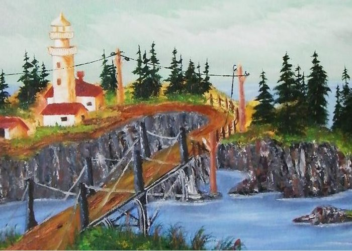 Greeting Card featuring the painting Lighthouse by Larry Doyle