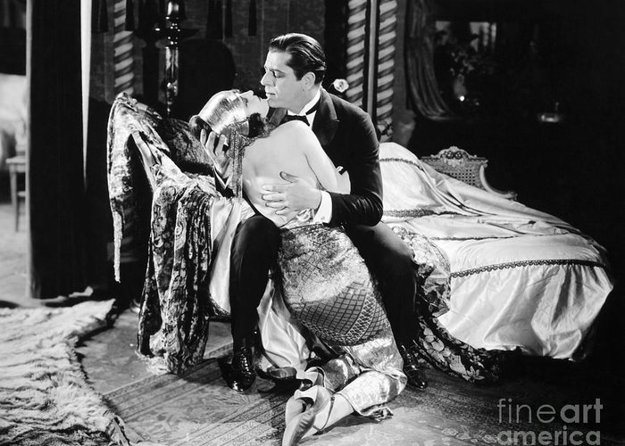 -couples- Greeting Card featuring the photograph Silent Film Still: Couples by Granger