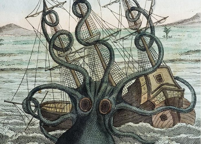 19th Century Greeting Card featuring the photograph 1815 Collosal Polypus Octopus And Ship by Paul D Stewart