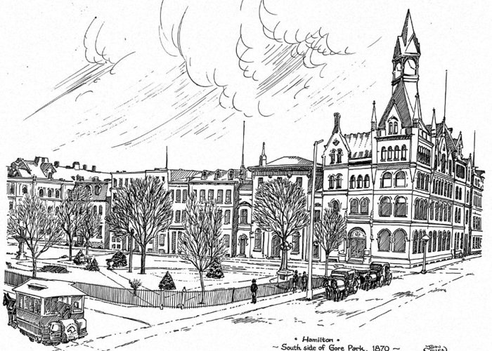 Landscape Greeting Card featuring the mixed media 1870 Gore Park Hamilton Ontario by John Cullen