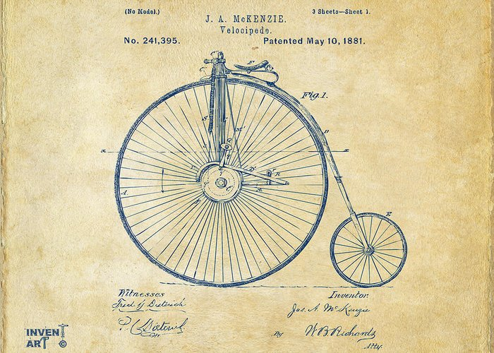 Velocipede Greeting Card featuring the digital art 1881 Velocipede Bicycle Patent Artwork - Vintage by Nikki Marie Smith