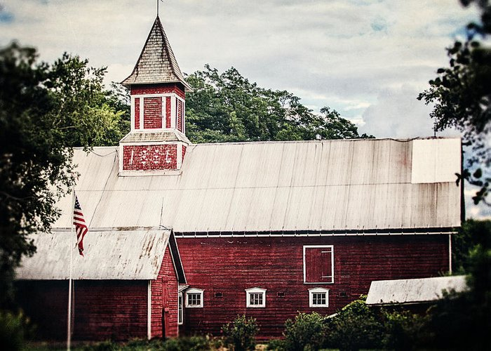 Barn Greeting Card featuring the photograph 1886 Red Barn by Lisa Russo