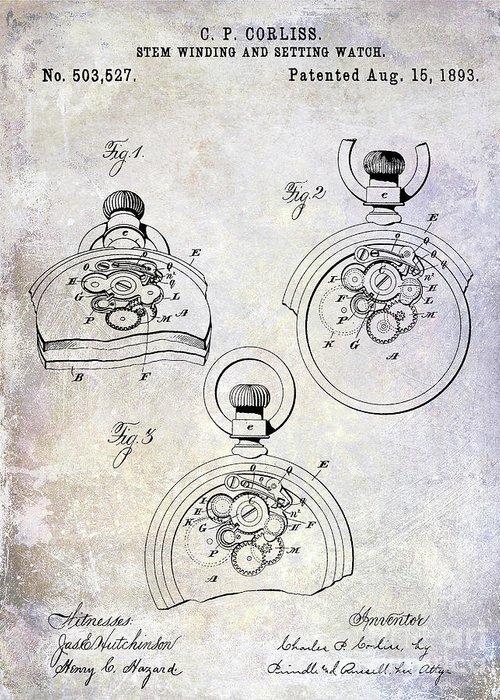 Watch Greeting Card featuring the photograph 1893 Pocket Watch Patent by Jon Neidert