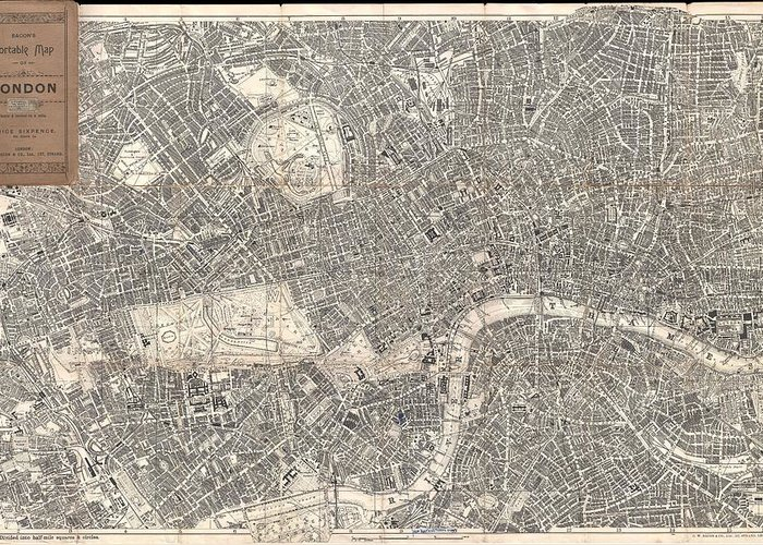 1899 Bacon Pocket Plan Or Map Of London Greeting Card featuring the photograph 1899 Bacon Pocket Plan Or Map Of London by Paul Fearn