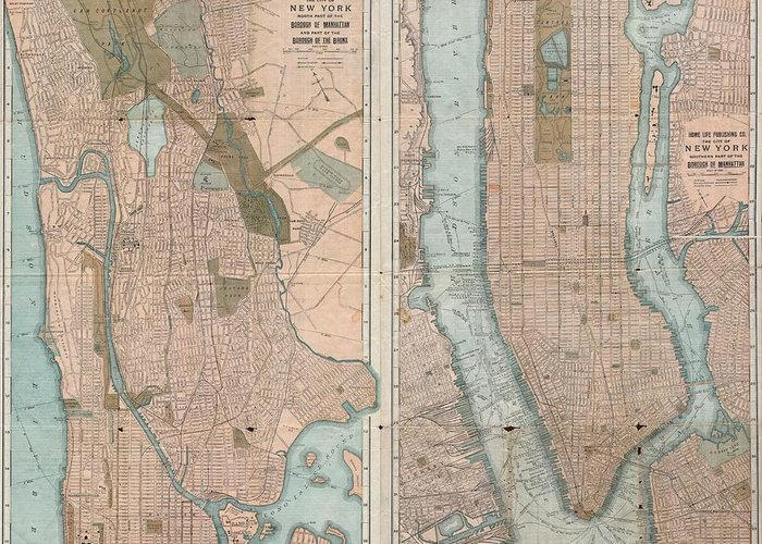 Greeting Card featuring the photograph 1899 Home Life Map Of New York City Manhattan And The Bronx by Paul Fearn