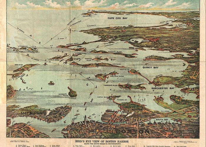 1899 View Map Of Boston Harbor From Boston To Cape Cod And Provincetown Greeting Card featuring the photograph 1899 View Map Of Boston Harbor From Boston To Cape Cod And Provincetown by Paul Fearn