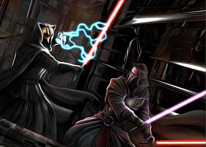 Star Wars Greeting Card featuring the digital art 2 Star Wars Art by Larry Jones