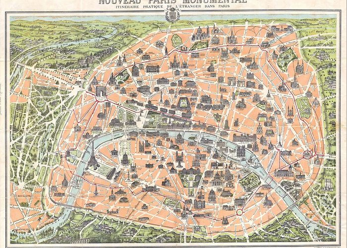 1900 Garnier Pocket Map Or Plan Of Paris Greeting Card featuring the photograph 1900 Garnier Pocket Map Or Plan Of Paris France Eiffel Tower by Paul Fearn
