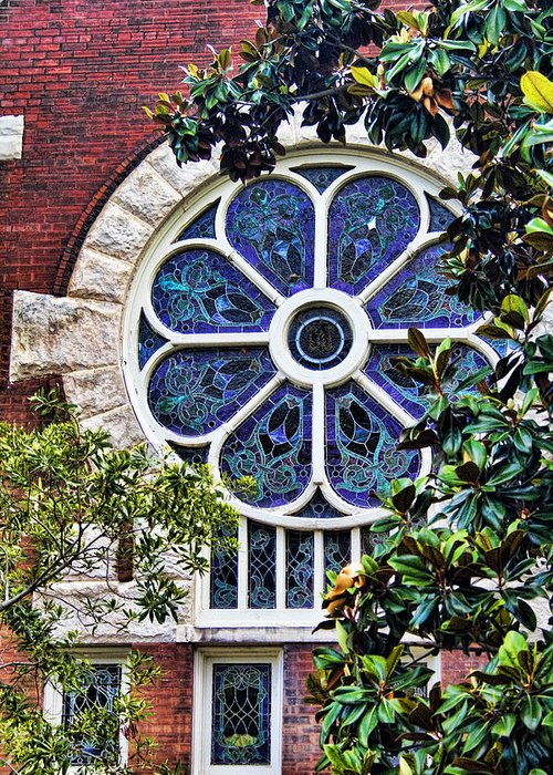 Uab Greeting Card featuring the photograph 1901 Antique Uab Gothic Stained Glass Window by Kathy Clark