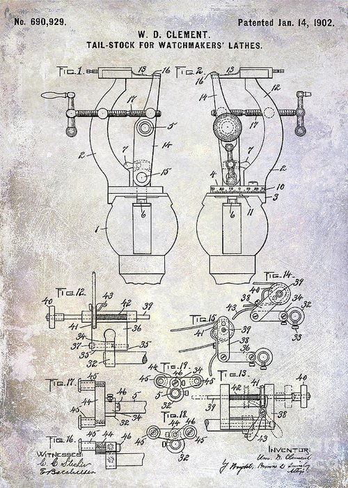 Watch Greeting Card featuring the photograph 1902 Watchmakers Lathes Patent by Jon Neidert