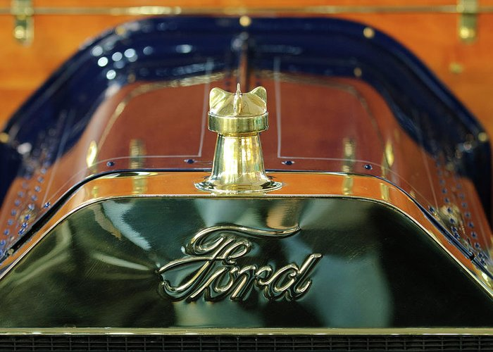 1911 Ford Model T Runabout Greeting Card featuring the photograph 1911 Ford Model T Runabout Hood Ornament by Jill Reger