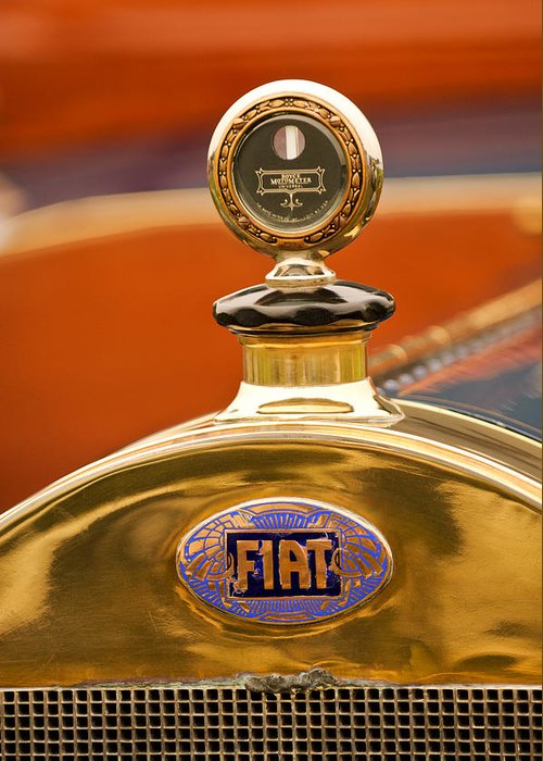 1913 Fiat Type 56 7 Passenger Touring Greeting Card featuring the photograph 1913 Fiat Type 56 7 Passenger Touring Hood Ornament by Jill Reger