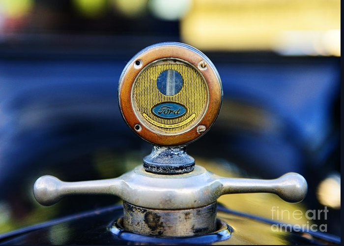 1919 Ford Model T Greeting Card featuring the photograph 1919 Ford Model T Hood Ornament Original by Paul Ward